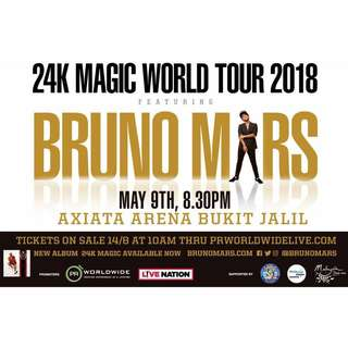 2 tickets bruno mars CAT2 302 nego