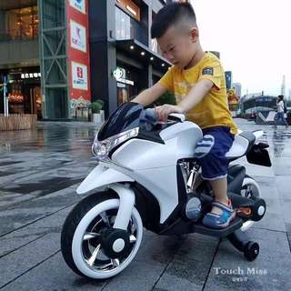 White Big Bike Rechargeable Ride on Motorcycle Toy