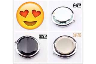 🚚 雙面隨身折叠水晶金屬化妝小鏡子1個