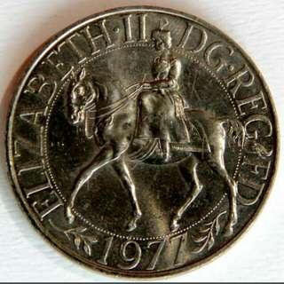 英國 1977年英女皇銀禧紀念幣 大镍币