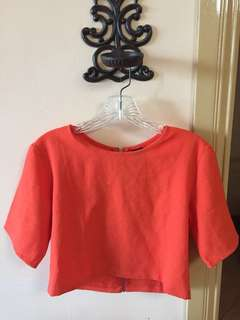 Short-sleeved Cropped Top in Orange