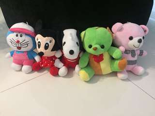 Brand New Doraemon, Minnie, Snoopy, Green Bear and Pink Bear