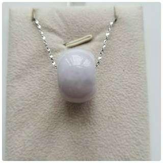 翡翠A玉『淡紫轉運珠』連銀鏈一套
