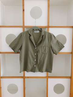 Korean brand Cropped Olive Button down polo