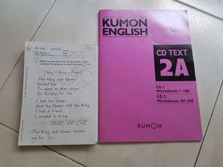 😊400pgs Kumon Lvl 2A Eng Worksheets & 2 CD
