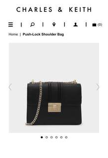 Charles Keith 小ck-PUSH-LOCK SHOULDER BAG