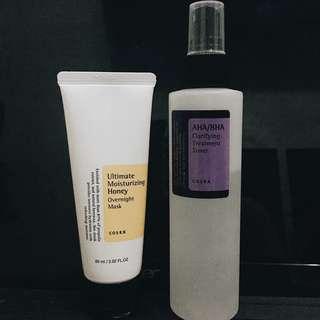 CosRx bundle: aha/bha clarifying toner + ultimate moisturizing honey overnight mask + free 10ml goodmorning cleanser