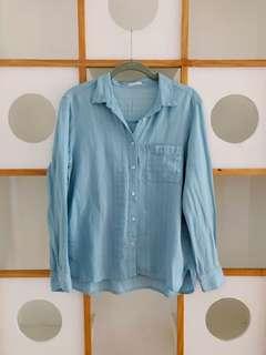 GU Striped Light Blue Polo (long sleeves)