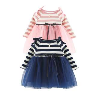 Cute Girl Simple Long Sleeves Bowknot Tutu Skirt Dress