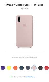 Authentic Apple Silicon Case for iPhone X Pink Sand colour