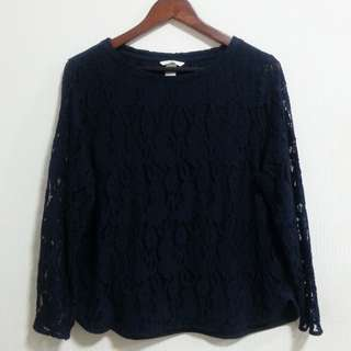 XL H&M Navy Blue Lace Sweater