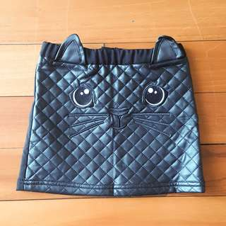 (NEW) H&M faux leather quilted cat skirt / rok anak