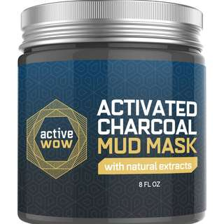 [NEW Product] Active Wow Charcoal Mud Mask - Deep Pore Facial Cleanser and Healing Formula 8 fl oz