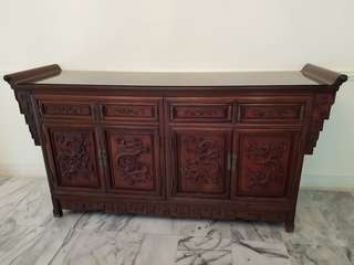 Solid Rosewood Cabinet with hand carved dragon design