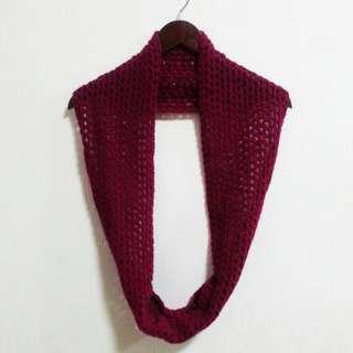 Handmade Crochet Infinity Scarf in Wine