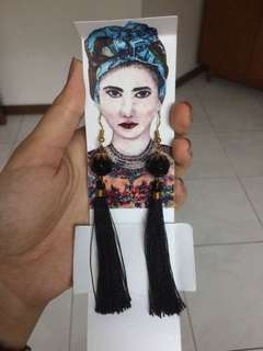Black Long Tassel Earrings