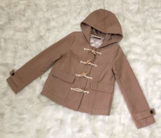 Tan Winter Hooded Toggle Coat