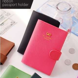 Passport Holder or Cover - Ribbon (Black or Green)