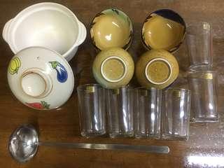 陶瓷煲 飯碗 水杯 湯匙 Pot Bowl Glasses Spoon 14隻