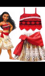 Instock moana dress set brand new size 100-140cm.. necklace available TOP up -$19.90 .. take set -$42.90