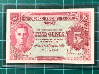 1941 KGVI 5 Cents banknote