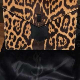 Authentic YSL pony hair leopard print clutch