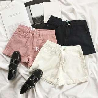 高腰反摺褲(黑)