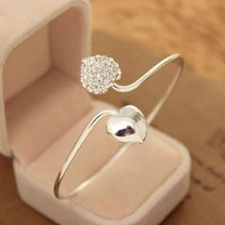 Cute double heart silver bracelet
