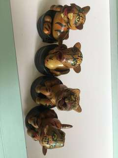 4 tigers Chinese creatures pencil sharpener wooden craft collectibles
