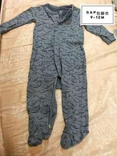 🚚 Gap baby 藍色鯨魚包腳衣