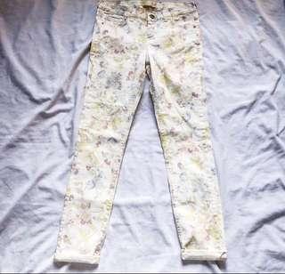 Zara floral skinny jeans