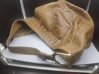 100% Original Authentic Gucci Greenwich Hobo Taupe/Brown Leather and Python Shoulder Bag