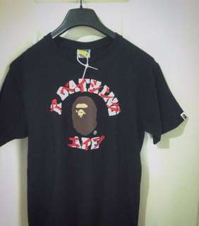 BAPE X Japanese Calligraphy (RED) Black Graphic Tee