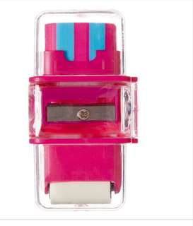 Smiggle pink 3in1 sharpener, eraser and roller rm10 NEW