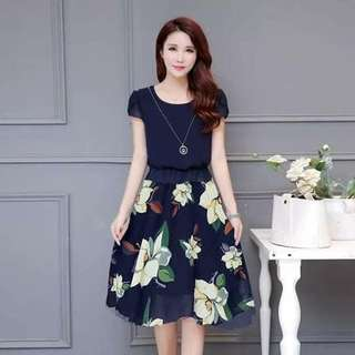 Korean dress with lining freesize fit S to L
