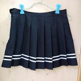 黑色海軍學院風雙線白線百褶裙