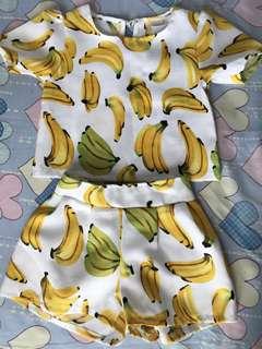 Banana Print Blouse & Shorts
