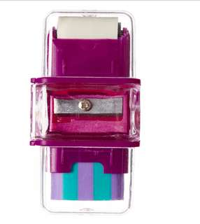 Smiggle purple 3in1 sharpener eraser and roller rm10 NEW