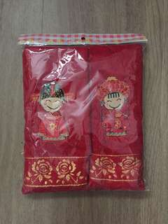 🚚 Red Bridal Couple Husband and Wife red face Towel