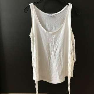 Zara Side Fringe White Top