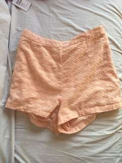 Forever 21 Textured Peach Shorts (Size L; Waist 30-31)