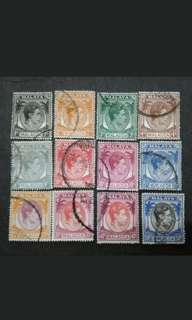 Malaya 1950 Malacca Queen Elizabeth II Loose Set 50c - 9v Used Stamps