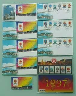 1997年中華人民共和國香港特別行政區成立紀念小型張+首日封 Commemoration of the Exhibition of the HKSARG, RPC official first day cover + stamp sheetlet
