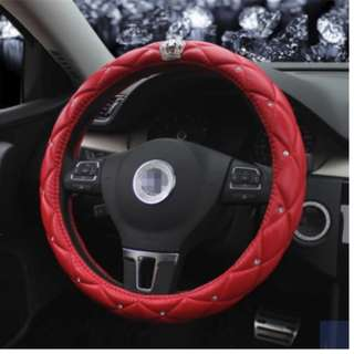 red steering cover 38cm with diamond and crown