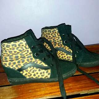 Vans leopard print wedge sneakers
