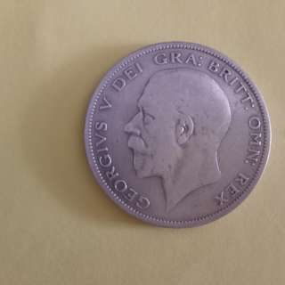 1/2 crown king george v --gvf silver coin