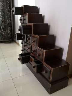 Custom build Teak chest of mini drawers