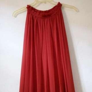 Long dress ruffle red