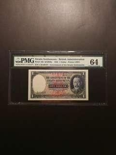 Straits Settlement $1 1935 (PMG64)