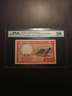 Malaya and British Borneo Buffalo Prefix Large B $10 1961 (PMG58)
